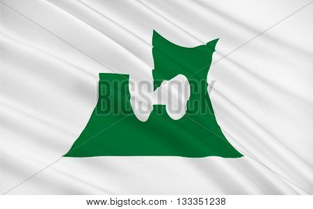Flag of Aomori Prefecture is a prefecture of Japan located in the Tohoku region 3D rendering