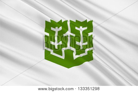 Flag of Matsuyama is the capital city of Ehime Prefecture on the island of Shikoku in Japan. 3D rendering