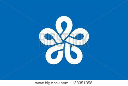 Flag of Fukuoka Prefecture is a prefecture of Japan located on Kyushu Island. 3D rendering