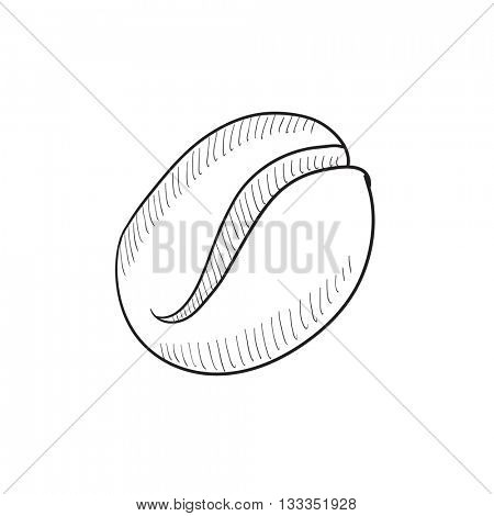 Coffee bean vector sketch icon isolated on background. Hand drawn Coffee bean icon. Coffee bean sketch icon for infographic, website or app.
