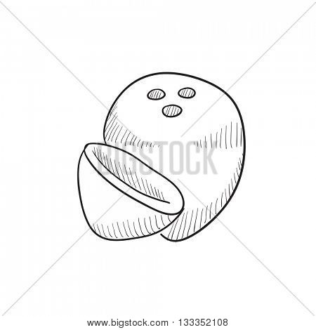 Coconut vector sketch icon isolated on background. Hand drawn Coconut icon. Coconut sketch icon for infographic, website or app.