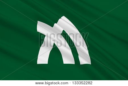 Flag of Kagawa Prefecture is a prefecture of Japan located on Shikoku island. The capital is Takamatsu. 3D rendering