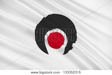 Flag of Kagoshima Prefecture is a prefecture of Japan located on the island of Kyushu. 3D rendering
