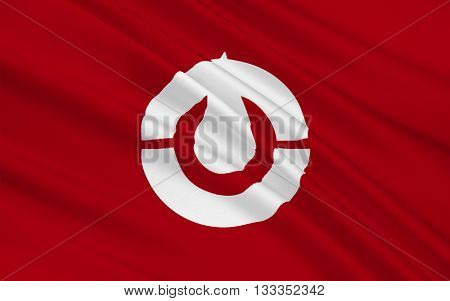 Flag of Kochi Prefecture is a prefecture of Japan located on the south coast of Shikoku. 3D rendering
