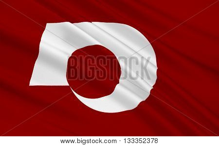 Flag of Kumamoto Prefecture is a prefecture of Japan located on the island of Kyushu. 3D rendering