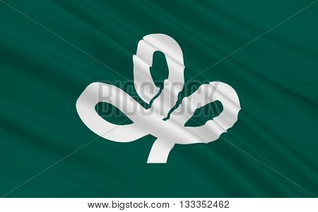 Flag of Miyagi Prefecture is a prefecture of Japan in the Tohoku region on Honshu island. The capital is Sendai 3D rendering