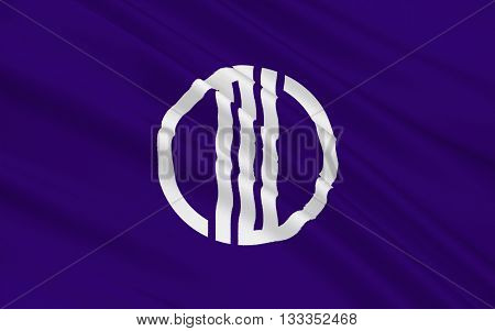 Flag of Sendai is the capital city of Miyagi Prefecture Japan and the largest city in the Tohoku region and the second largest city north of Tokyo 3D rendering
