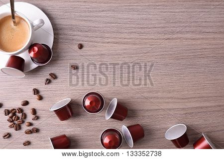 Cup Of Espresso On Wood Table Top View