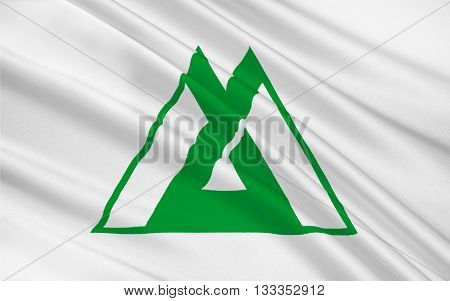 Flag of Toyama Prefecture is a prefecture of Japan located in the Hokuriku region on the main Honshu island. 3D rendering