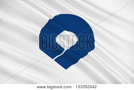 Flag of Wakayama Prefecture is a prefecture of Japan located on the Kii Peninsula in the Kansai region on Honshu island. 3D rendering