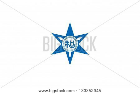 Flag of Wakayama is the capital city of Wakayama Prefecture in the Kansai region of Japan. 3D rendering