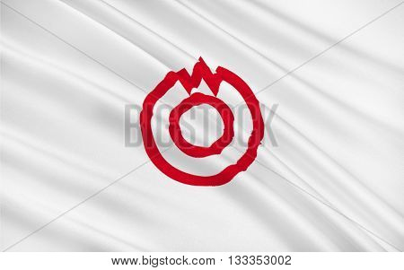 Flag of Yamaguchi is the capital city of Yamaguchi Prefecture Japan. 3D rendering
