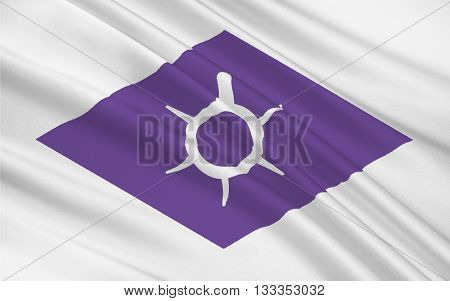 Flag of Kofu is the capital city of Yamanashi Prefecture in Japan. 3D rendering