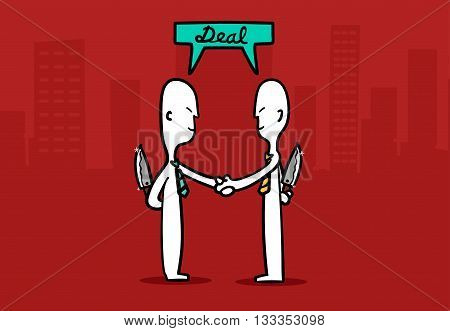 Biz Man Concept : Two Business Mans Shaking Hands With Tricky Deal A Business At City Building Backg
