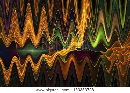 Abstract psychedelic waves on black background. Computer-generated fractal in green brown yellow orange and violet colors.