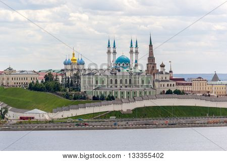 Kazan Russia - June 13 2015: Overview on Kazan Kremlin from riverside