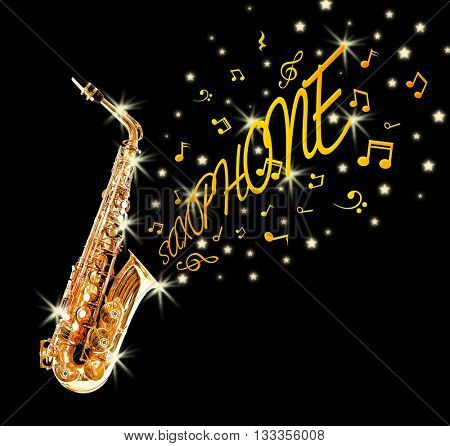 Golden saxophone and notes coming out against black background