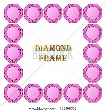 Pink diamond square frame. Vector jewerly background and place for your text. Abstract diamond border