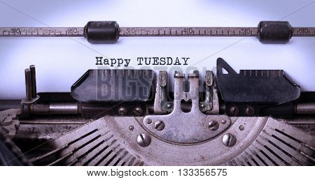 Vintage Typewriter Close-up - Happy Tuesday