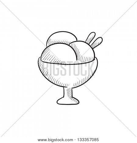Cup of an ice cream vector sketch icon isolated on background. Hand drawn Cup of an ice cream icon. Cup of an ice cream sketch icon for infographic, website or app.