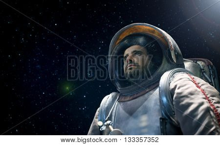 Portrait of an astronaut looking at the infinite space