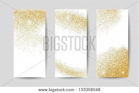 Gold dust on white background. Gold glitter background. Gold shiny background for banners.
