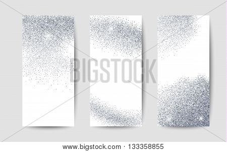 Silver dust on white background. Silver glitter background. Silver shiny background for card, gift, certificate, flyer, present