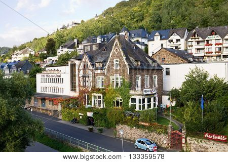COCHEM, GERMANY - SEPTEMBER 15, 2010: A cityscape of Cochem town in Germany. Cochem is a small town with just over 5000 inhabitants in the Rhineland-Palatinate state in Germany.