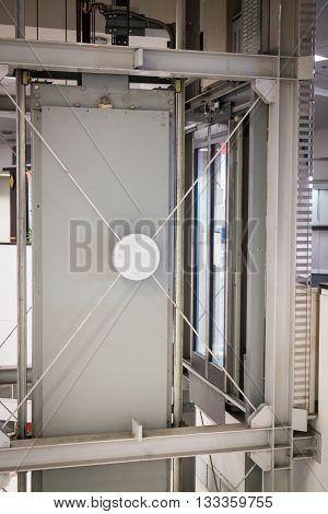 Holding frame of elevator shaft stock photo