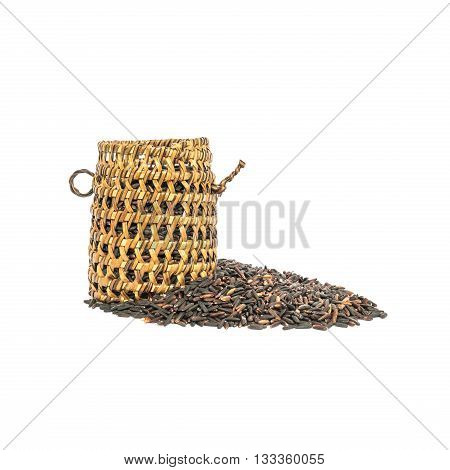 Closeup pile of black rice called riceberry rice with wooden wickerwork rice with high nutrients isolated on white background with clipping path