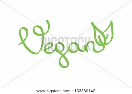 Vector hand drawn lettering word vegan. Word vegan with fresh green leaves isolated on white background.