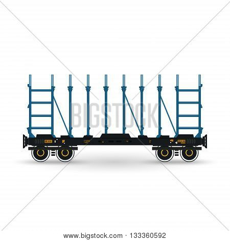 Railway Platform Isolated on White, Railway  Transport, Platform for Transportation of Bulk Cargo and Long Cargo and for Timber Transportation , Vector Illustration