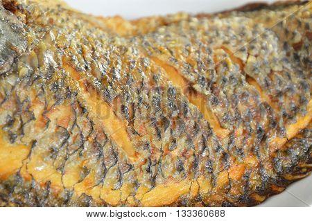 deep fried mango fish skin texture on dish