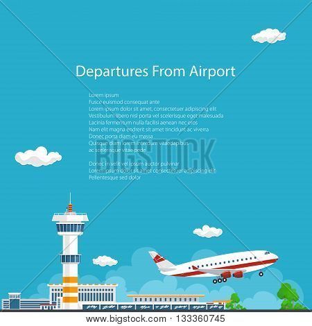 Airplane Takes Off from the Airport , Airport Background, Control Tower and Airplane , Travel and Tourism Concept , Air Travel and Transportation, Vector Illustration