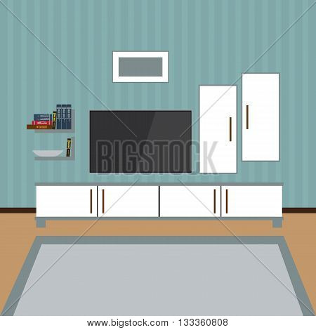 Vector Interior of a living room. Modern flat design illustration. TV on the wall. Shelf with books, photo frame.