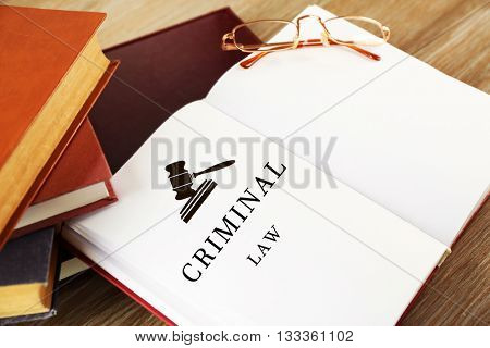 Open book with words criminal law