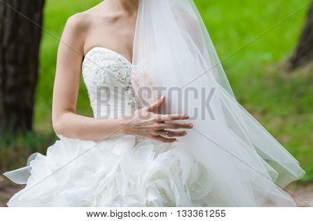 Bride in Wedding Dress.  Preparation for wedding day