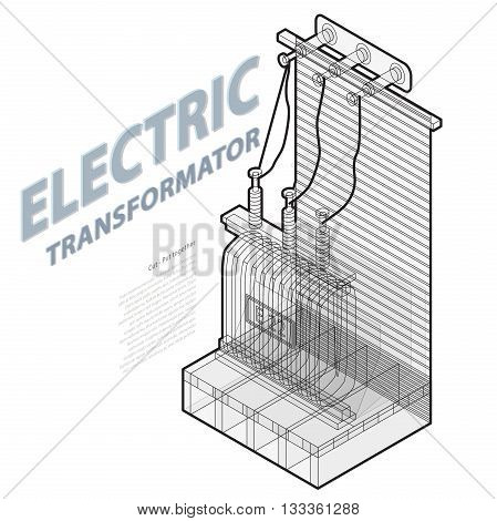 Electric transformer isometric building info graphic. Outline high-voltage power station. Old plant architecture. Wire scientific illustration. Pictogram industrial electricity. Isolated master vector