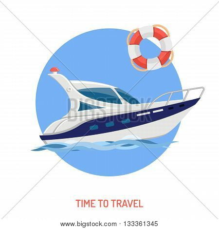 Travel and Vacation Concept for Web Site, Advertising like Boat and Lifebuoy Flat Icons.