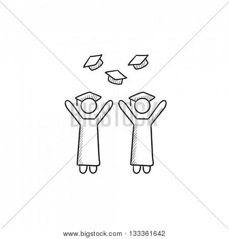 Graduates throwing caps vector sketch icon isolated on background. Hand drawn Graduates throwing caps icon. Graduates throwing caps sketch icon for infographic, website or app.