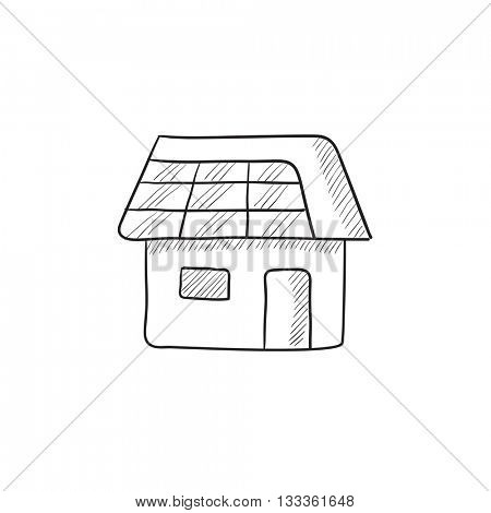 House with solar panel vector sketch icon isolated on background. Hand drawn House with solar panel icon. House with solar panel sketch icon for infographic, website or app.