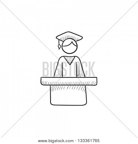 Graduate standing at the tribune vector sketch icon isolated on background. Hand drawn Graduate standing at the tribune icon. Graduate at the tribune sketch icon for infographic, website or app.