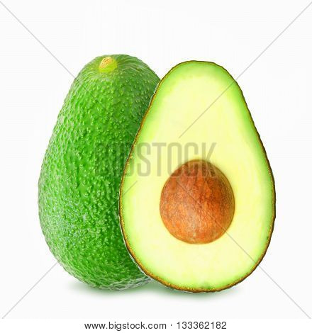 Fresh green ripe avocado and slice of avocado with core isolated on white background. Design element for product label, catalog print, web use.