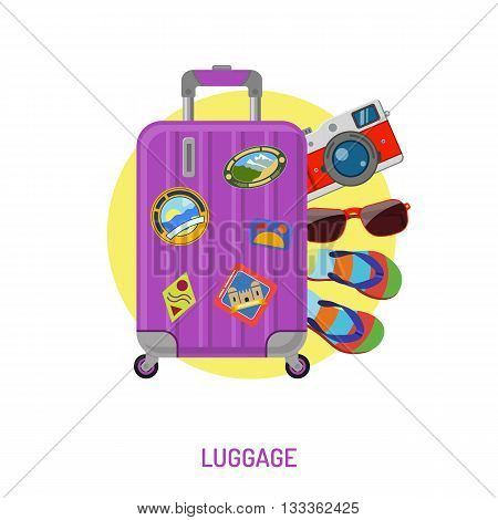 Vacation and Tourism Concept with Flat Icons for Mobile Applications, Web Site, Advertising like Luggage, Label and Camera.