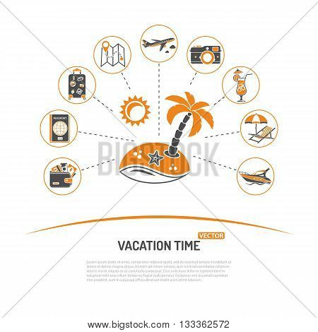 Vacation Time and Tourism Concept with Icons for Mobile Applications, Web Site, Advertising like Map, Boat, Luggage, Trip, Cocktail, Island and Aircraft.