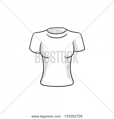 Female t-shirt vector sketch icon isolated on background. Hand drawn Female t-shirt icon. Female t-shirt sketch icon for infographic, website or app.