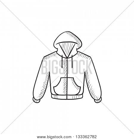 Hoodie vector sketch icon isolated on background. Hand drawn Hoodie icon. Hoodie sketch icon for infographic, website or app.