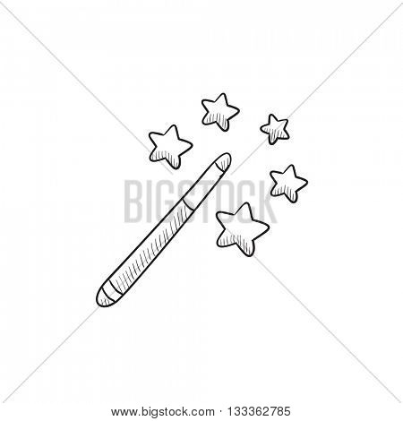 Magic wand vector sketch icon isolated on background. Hand drawn Magic wand icon. Magic wand sketch icon for infographic, website or app.