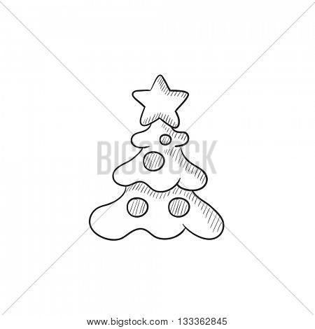 Christmas tree with decoration vector sketch icon isolated on background. Hand drawn Christmas tree with decoration icon. Christmas tree with decoration sketch icon for infographic, website or app.
