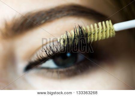 beautiful female eye with extreme long lash. Mascara applying closeup with yellow brush
